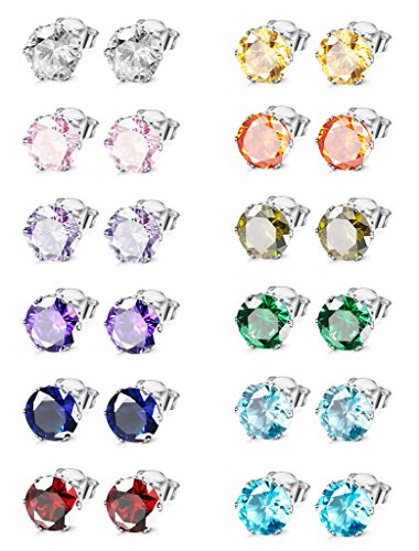 Jstyle Jewelry Stainless Steel Womens CZ Stud Earings Set Piercing, 12 Pairs 4MM