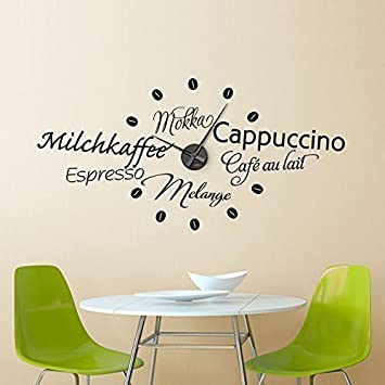 Grandora W5062 moderne Wandtattoo Uhr Kaffeesorten Küche ...