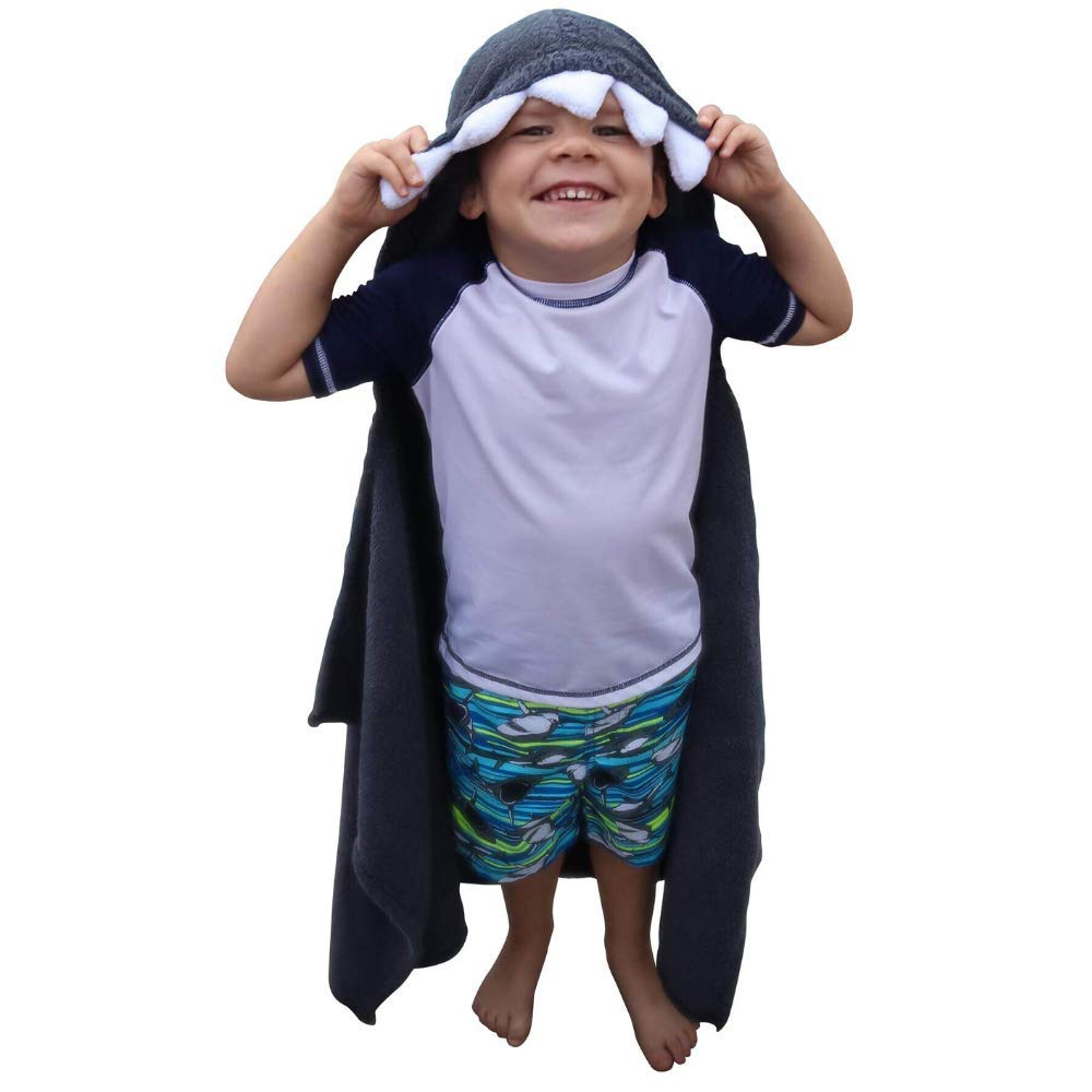 Soflo Baby Shark Hooded Towel for Kids, Toddlers, and Babies with Large Hood - Kids Hooded Bath Towel is also great for the Swimming Pool and Beach Cover Up Made of Soft Cotton - 48 x 24 inches
