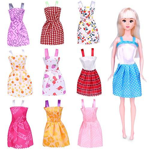 HolidayWow 88Pcs accessori per Barbie Doll vestiti abito partito abiti-10 pezzi abiti da festa e 78 PC biciclette scarpe famiglia per il regalo di compleanno ragazza