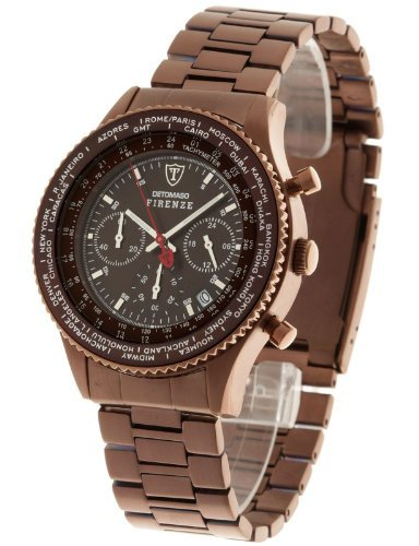 DETOMASO Men's SM1624C-BN FIRENZE Chronograph Trend Braun/Braun Analog Display Japanese Quartz Brown Watch