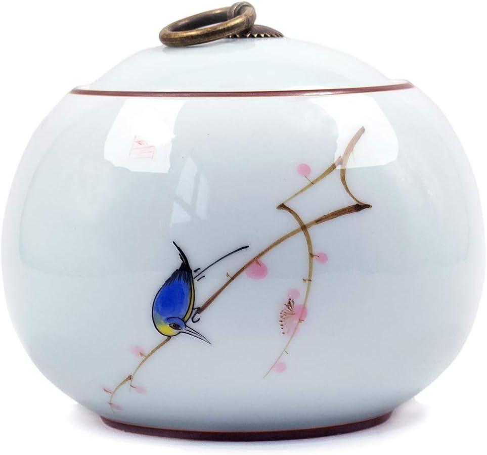 Dahlia Bird on Cherry Blossom Glaze Porcelain Tea Tin/Tea Storage/Tea Caddy/Tea Canister