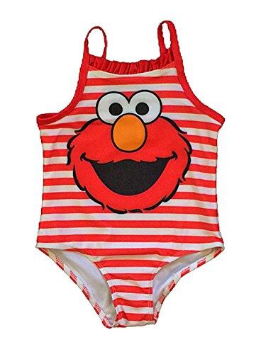 Sesame Street Elmo Toddler Girls Stripe Swimsuit (3T)