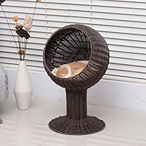 """60%OFF Generic cker El Elevated Pet evated Pe Bed Cat Cat Cave Co Hooded Cushion Scratch House ave Condo Hooded 28"""" Rattan Wicker Cushion Cave Condo"""
