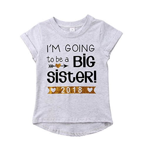 2018 Baby Girl Clothes Outfit Big Sister Letter Print T-Shirt Top Blouse Shirts (Light Grey, 1-2 Years)