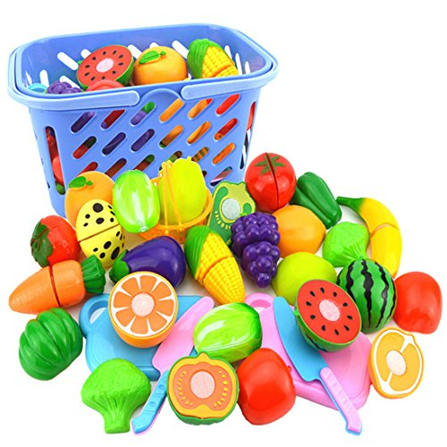 23Pcs Plastic Cutting Toys, YIFAN Fruit Vegetables Cutting Toy Early Development and Educational Toy for Baby Children Kids(Color Random) (Fruit Toy Plastic)