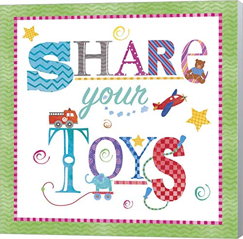 Share Your Toys by Fiona Stokes-Gilbert Canvas Art Wall Picture, Museum Wrapped with Winter Gray Sides, 22 x 22 inches