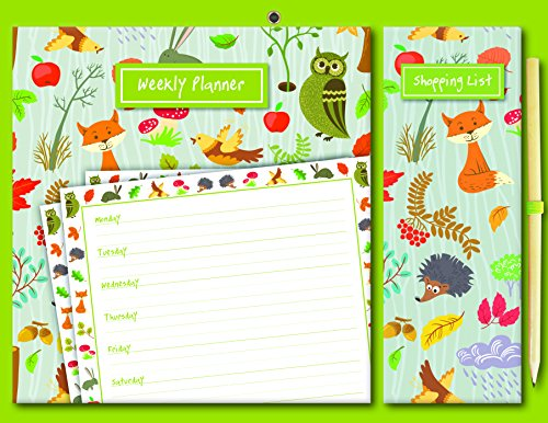 Woodland Magnetic Meal Weekly Planner and Shopping List with Pencil, 9.25 x .39 x 12.01 - The Shopping Woodlands