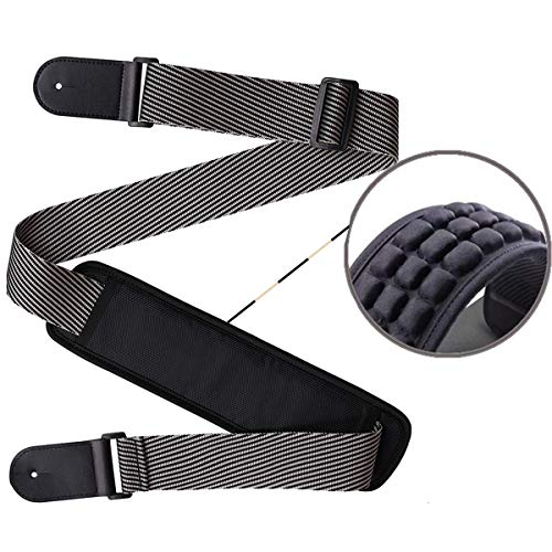 Adjustable Guitar Strap Replacement Shoulder Strap Genuine Leather Ends Strap with 3.35in Wide Pad for Bass Electric Acoustic Guitar