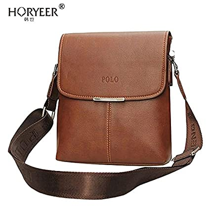 b07a697f8dd7b Genric Brown   HORYEER men polo bag bandolera hombre 2016 Pu Leather Men  Messenger Bags Crossbody Shoulder Bags Men Handbags Casual Briefcase   Amazon.in  ...