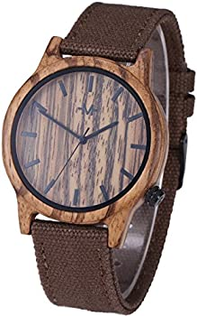 Marino Mens Canvas Wooden Watch Wrist Watches for Men