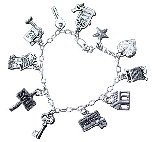 Real Estate Agent Sterling Silver   Pewter Charm Bracelet  House   Realtor Charms  Usa Made  Size Xl  8 5 Inches  Extra Large