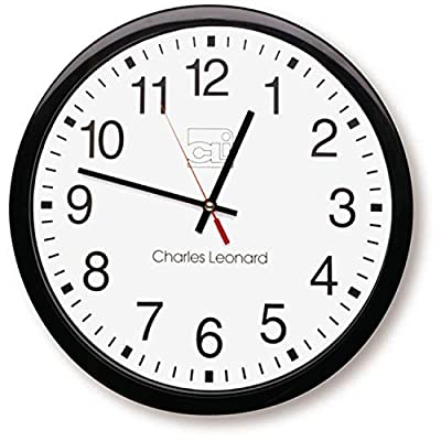 Charles Leonard Wall Clock, 14 Inch Thinline Quartz with 12 Inch Dial, Black/White (76820) - Large black numerals against white face make for easy viewing Precise quartz movements to guarantee accurate time Black plastic case with clear plastic lens - wall-clocks, living-room-decor, living-room - 51 4VHAkFWL. SS400  -