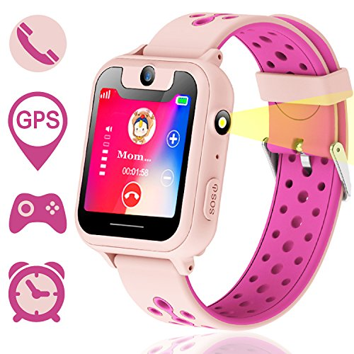 Synmila Kids Smart Watch Phone for Boys Girls with GPS Tracker Smart Wrist Watch Phone with SIM Fitness Trackers with Camera Touch Screen Anti-Lost Wearable Phone Watch Bracelet for iOS (Pink)
