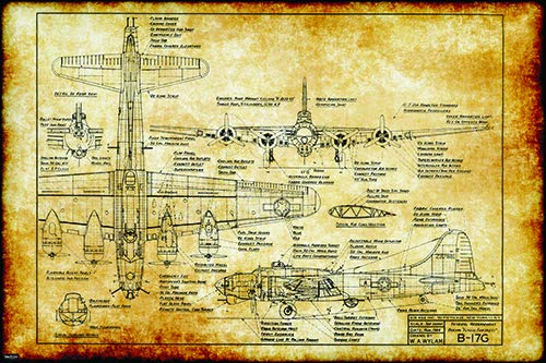 Retro Vintage WW2 B17 Bomber Flying Fortress War Plane Engineering Technical Drawing Aircraft Schematic Home Decor Print Poster ()