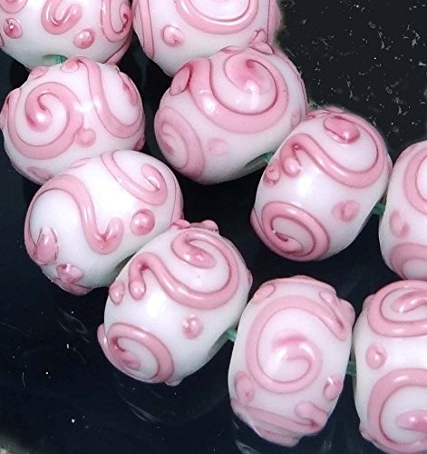 (10 Beads) Lampwork Handmade Glass Pink Scroll Rondelle Spacer Beads