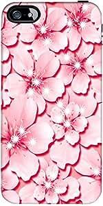 Snoogg Rosa Diseñador Flor Protectora Volver Funda Para El Iphone 5 / 5S