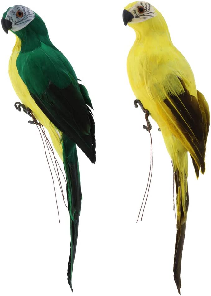 B Blesiya 2pcs Realista Guacamayo Loro Aves Artificiales de Plumas de Juguete Animal Ornamento