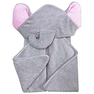 YOYOO Premium Bamboo Baby Bath Towel – Ultra Soft Organic Hypoallergenic Baby Hooded Towels for Babies - Newborn Essential Cute Grey Little Elephant -Perfect Baby Registry Gifts for Girl