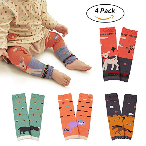 WeddingPach Baby Leg Warmers Toddler Boys Girls Cotton Leggings Kneepads for Crawling Warming 4 Pack (Color4)