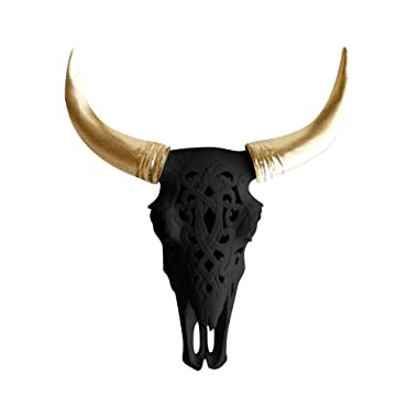 WALL CHARMERS Carved Black + Gold Faux Steer Skull - 19  Faux Taxidermy Animal Head Wall Decor - Handmade Farmhouse Decor
