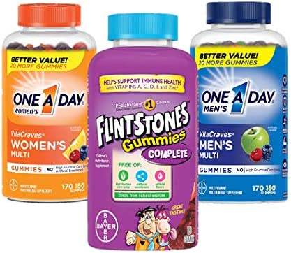One A Day Women s VitaCraves Multivitamin Gummies, with Men s VitaCraves Multivitamin Gummies170 count with Children s Complete Multivitamin Gummies, 180 Count