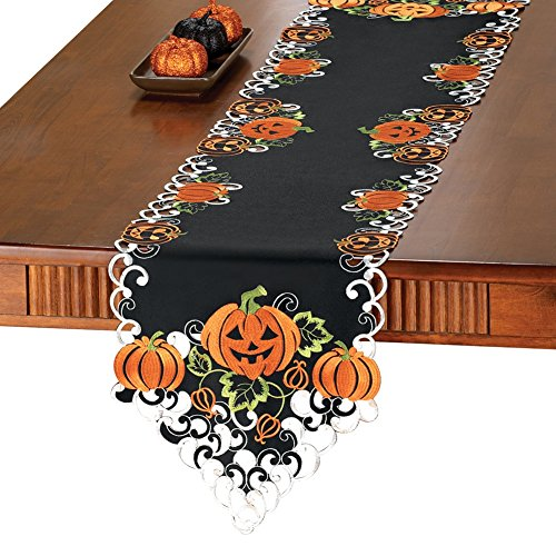 Embroidered Halloween Pumpkin Table Linens with Intricate Cut-out Details, Runner