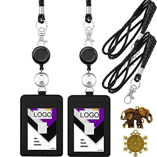 Black Leather Key Holder - YOUOWO Lanyard with id Badge Holder and Badge Reel Retractable Holder PU Leather Lanyard Cruise Black lanyards for ID Badges Holder Keys Women Men 2 Pack