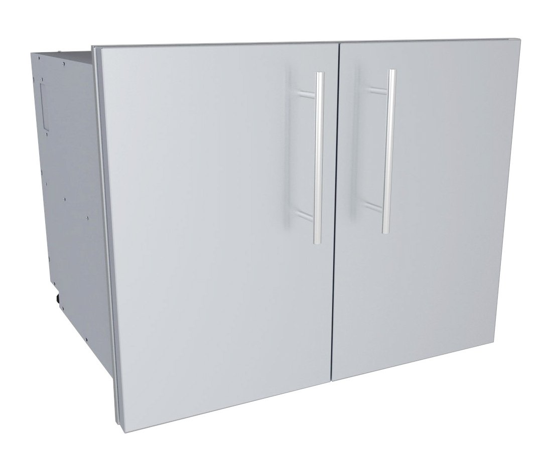 SUNSTONE DE-DDP30 Designer Series Raised Style Double Door Dry Storage Pantry, 30'', Stainless Steel by SUNSTONE