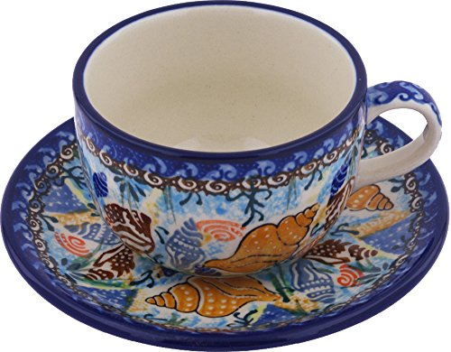 (Polish Pottery Cup with Saucer 9 oz Ocean Wishper)