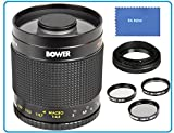 Bower 500mm f/8 Telephoto Mirror Lens For Canon Digital EOS Rebel SL1 (100D), T5i (700D), T4i (650D), T3 (1100D), T3i (600D), T1i (500D), T2i (550D), XSI (450D), XS (1000D), XTI (400D), XT (350D), 1D C, 70D, 60D, 60Da, 50D, 40D, 30D, 20D, 10D, 5D, Mark II