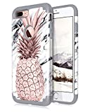 Dailylux iPhone 7 Plus Case,iPhone 8 Plus Case Marble Pineapple Girls Women Floral Slim Hybrid Hard PC Soft Silicone Anti-Slip Shockproof Protective Case for iPhone 7 Plus/8 Plus 5.5' Marble Grey