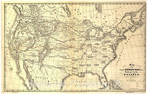 (Historic 1853 Map | Map of The Proposed Northern Route for a Railroad to The Pacific. 44in x 29in)