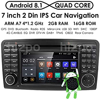Android 8.1 Quad Core Car in Dash Radio for Mercedes Benz ML Class W164 2005-2012 & ML300 & ML350 & ML450 & ML500 DVD Player GPS Navigation 7