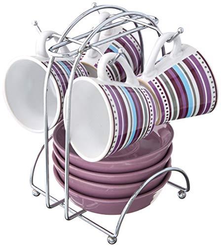 IMUSA A120-22203 Purple Stripe 8-Piece Espresso Set (Imusa 8 Piece Espresso Set With Rack)