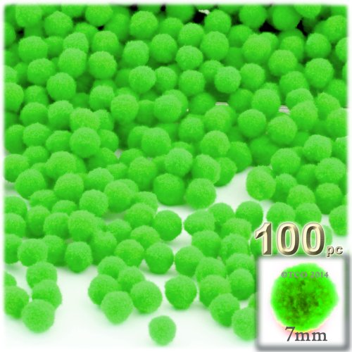 The Crafts Outlet 100-Piece Multi purpose Pom Poms, Acrylic, 7mm/0.28-inch, round, Neon Green