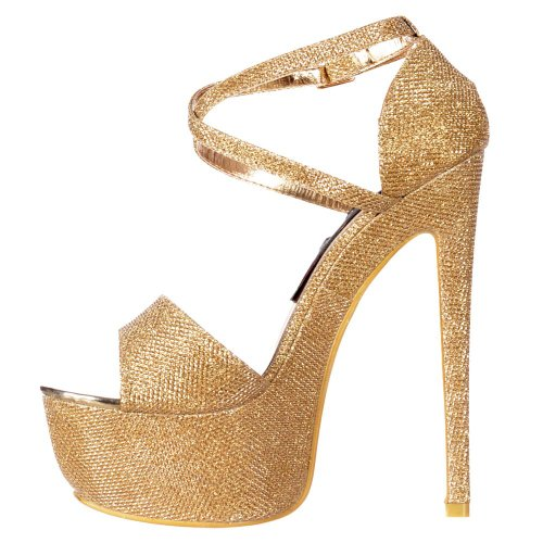 Partei Stiletto Frauen Schuhe Riemchen Heel Platform Over High Onlineshoe Damen Glitter Cross Gold HXqdpzC