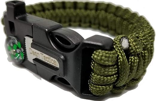 Alomejor Pulsera de Supervivencia de Paracord Pulsera de Paracord de Supervivencia de Emergencia Multifuncional con Linterna de LED Mini br/újula Whistl para Acampar al Aire Libre
