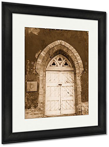 Ashley Framed Prints Locked Door On Old Castle Door, Wall Art Home Decoration, Sepia, 30x26 (frame size), Black Frame, AG6350986 by Ashley Framed Prints