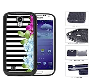 Black and White Horizontal Stripes with Pink and Blue Flower Design on Side 2-Piece High Impact Dual Layer Black Silicone Cell Phone Case Samsung Galaxy S4 I9500