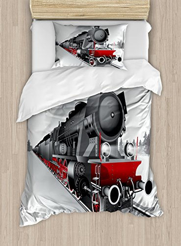 Engine Twin 2 (Ambesonne Steam Engine Duvet Cover Set Twin Size, Locomotive Red Black Train on Steel Railway Track Travel Adventure Graphic Print, Decorative 2 Piece Bedding Set with 1 Pillow Sham, Red Grey)