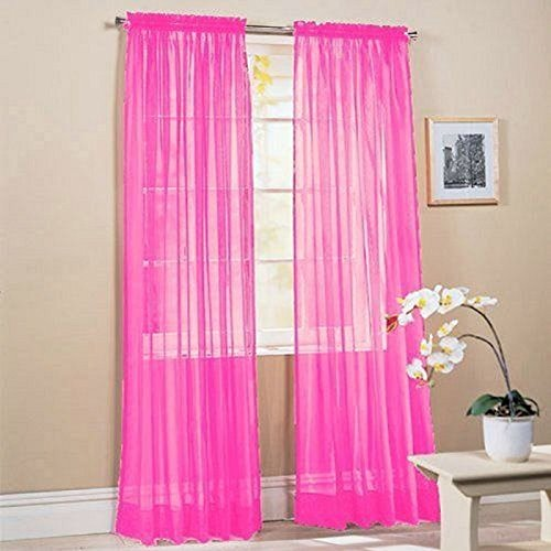 2 Piece Solid Hot Pink Sheer Window Curtains