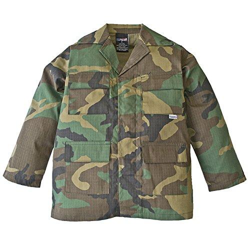 (Trendy Apparel Shop Youth Kid's Battle Dress Uniform Camouflage Print Top - BDU - L )