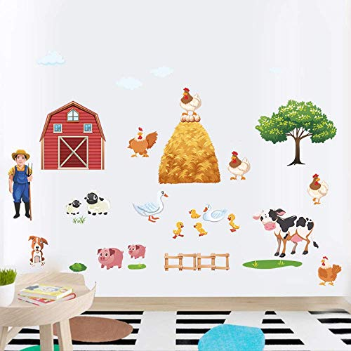 JQSM Cartoon DIY Farm Animal Wall Sticker Living Room Bedroom Duck Pig Hen Bull Poster Mural
