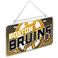 Boston Bruins Official NHL 4 inch x 2 inch Metal License Plate Christmas Ornament by Forever Collectibles 236820