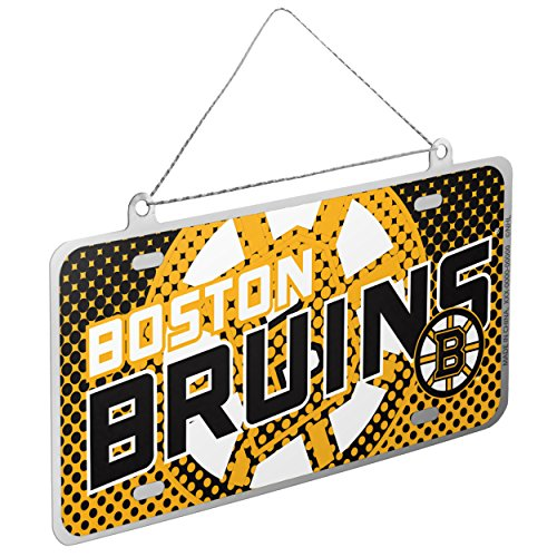 Boston Bruins Official NHL 4 inch x 2 inch Metal License Plate Christmas Ornament by Forever Collectibles (2 Collectible Plate)