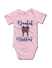 braeccesuit Newborn Infant Floral Tooth Dentist Assistant Short Sleeve Romper Onesie Bodysuit Jumpsuit