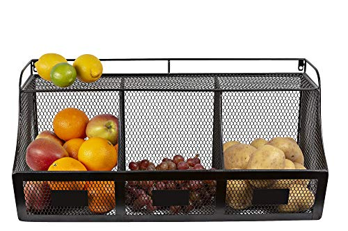 Kyrosss Wire Metal Hanging Kitchen Organizer Fruits Vegetables Bathroom Perfume Storage Garage Garden Basket Black, 23 Inch