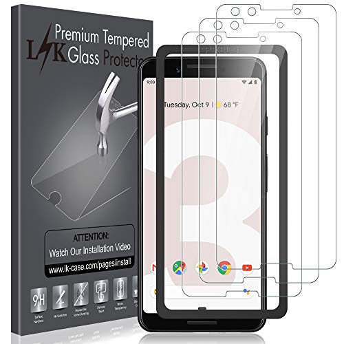 [3 Pack] LK Screen Protector for Google Pixel 3, Tempered Glass [HD-Clear][Anti-Scratch][Alignment Frame Easy Installation] with Lifetime Replacement Warranty