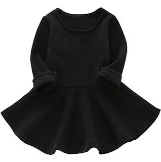 ddd617ed809 GSVIBK Baby Girls Cotton Dresses Toddler Infant Ruffles Dress Solid Long  Sleeve Dresses Toddler Short Sleeve